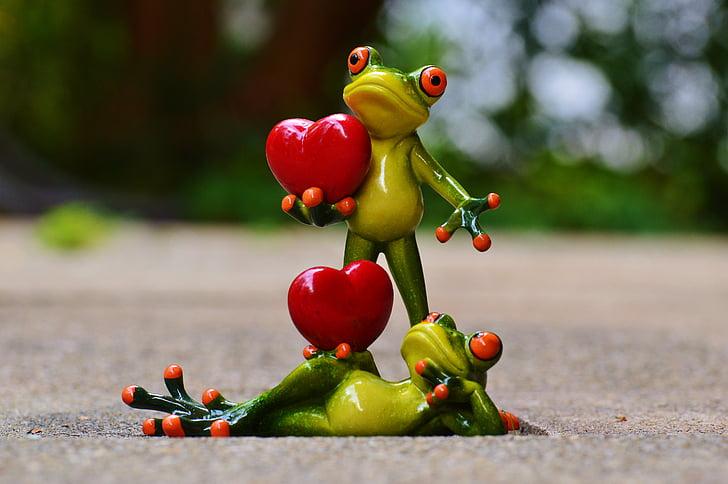 granotes, parell, l'amor, dia de Sant Valentí, plantejar, cor, divertit