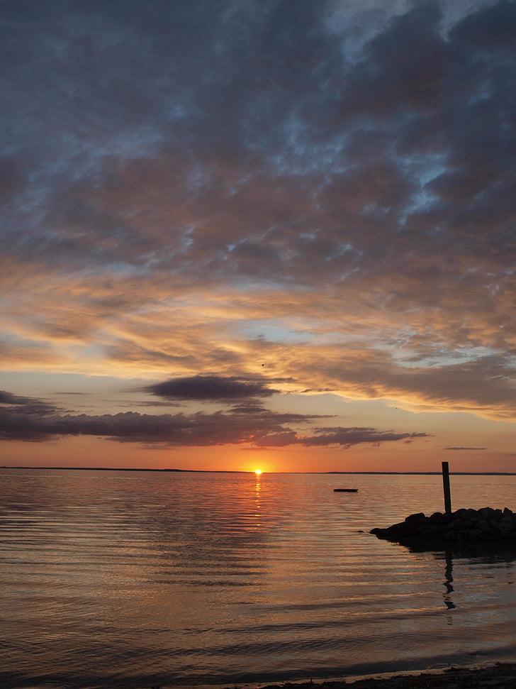 pôr do sol, mar, arrebol, abendstimmung, romance, Mar Báltico
