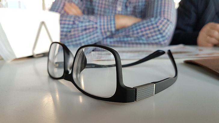 ulleres, elements, sobre la taula, Oficina, negoci