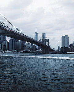 bridge, buildings, city, cityscape, river, skyline, suspension bridge