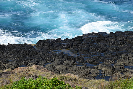 Oceaan, water, de golven, Cliff, strand, rotsen, landschap