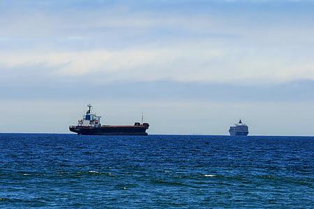 havet, fartyg, Cargo, behållare, sitter, hög, väntar på