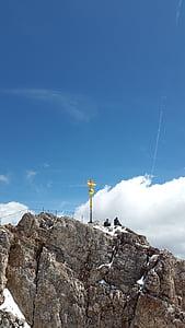 Zugspitze, Summit cross, csúcstalálkozó, kereszt, Zugspitze-hegység, hegyek, alpesi