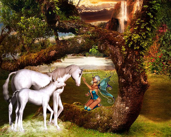 fantasy, unicorn, fee, fairy tales, mystical, horse, mythical animal