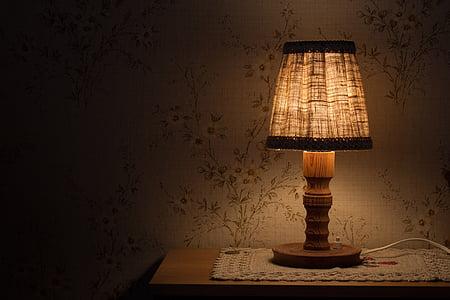 Nachttisch-Lampe, Licht, Nachttisch, Beleuchtung, elektrisches Licht, Strahlen, Warmweiß