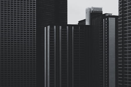 black-and-white, buildings, high-rises, multi-storey, skyscraper, architecture, built Structure