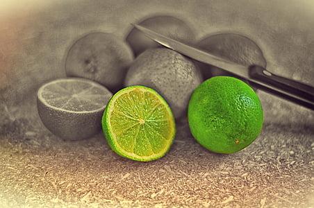 citron vert, sure, vert, citrons, alimentaire, vitamines, en bonne santé