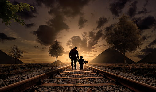 father and son, happiness, love, walking, child, joy, childhood