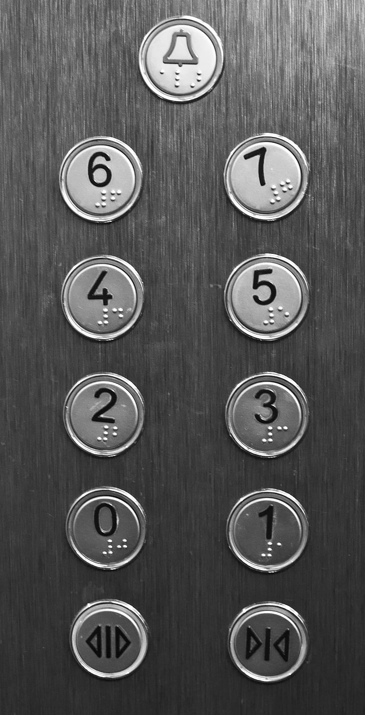 Lift, gomb, épület, push, Lift, emelet, fém