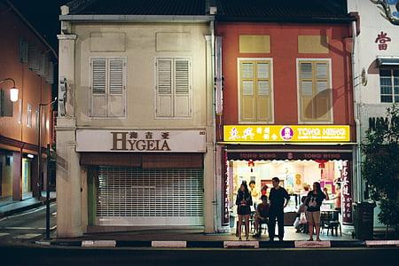 street life, people, singapore, night, street, city, store