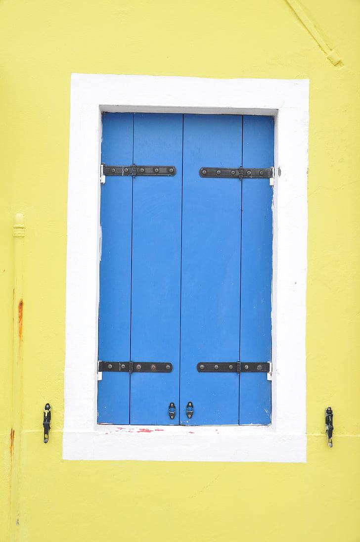 finestra, obturador, finestres de fusta, blau, finestra blava, groc, paret groc