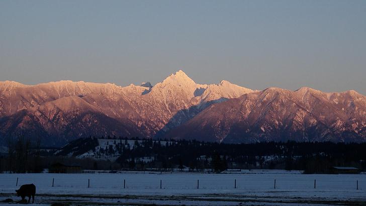 bergen, vinter, bergslandskap, bestiger berg