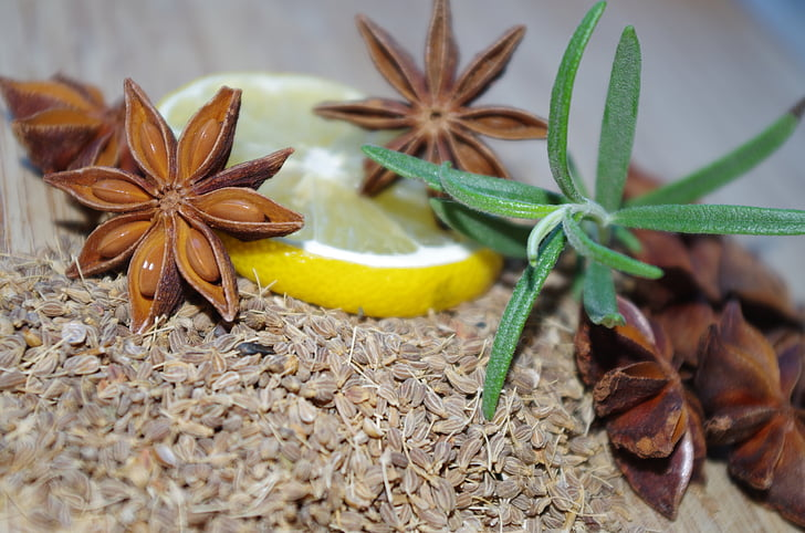 star anise, anise, rosemary, lemon, baking, pepper, christmas