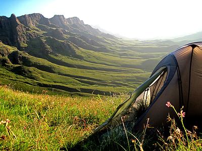 tenda, muntanyes, Sani pass, Sud-àfrica, Lesotho, Perspectiva, veure