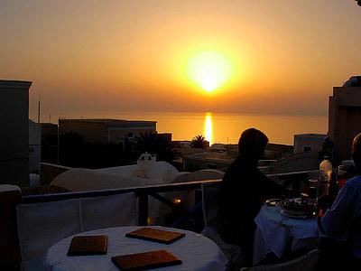 zalazak sunca, Grčka, Otok, more, putovanja, grčki, mediteranska