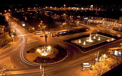 nit, ciutat, cotxe, ciutat a la nit, nit ciutat, urbà, horitzó