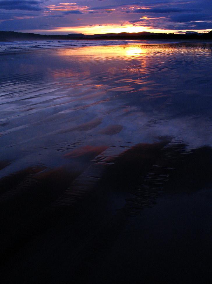 zonsondergang, strand, paars, zee, Oceaan, Sunset beach, strand zonsondergang