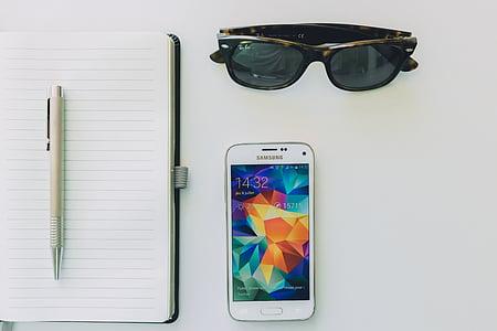 trắng, Samsung, điện thoại thông minh, điện thoại di động, Notepad, máy tính xách tay, bút