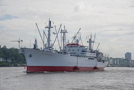 Hamburg, Müze gemi, Almanya, bağlantı noktası, kap, San diego, frachtschiff