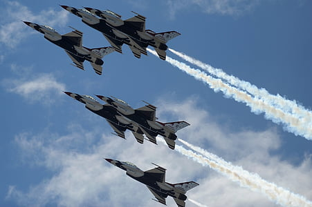 air show, thunderbirds, formation, military, us air force, aircraft, jets
