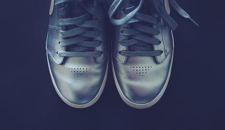 plata, sabates, sabatilles d'esport, Cordons, moda, sabata, parell