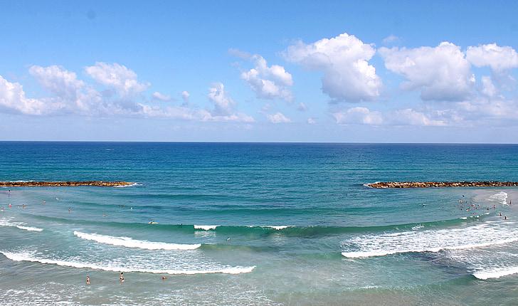 Izrael, Netanya, morje, Beach, val, počitnice, Sredozemskega morja