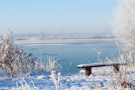 paisagem, Lago, banco, impressões de inverno, invernal, neve, frio