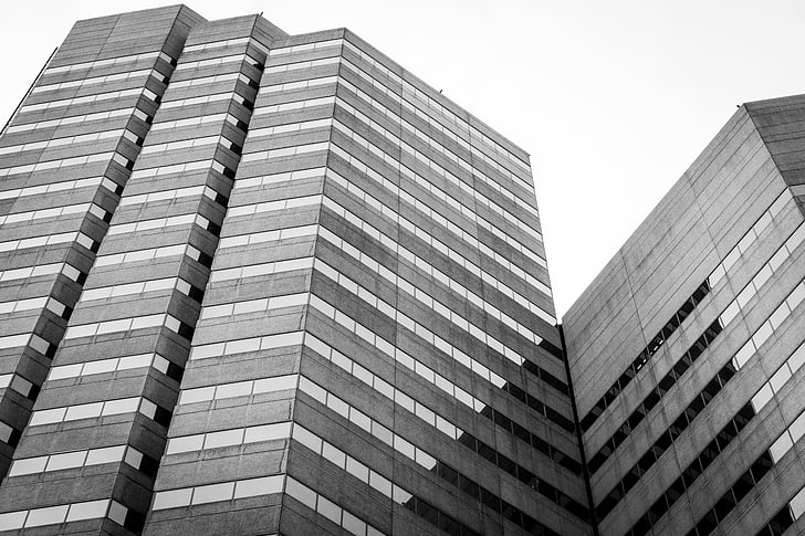 architecture, buildings, black and white, business building, sky, perspective, downtown