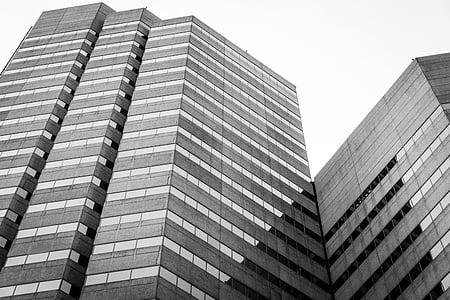 arhitektuur, hoonete, must ja valge, ärihoone, taevas, perspektiivi, Downtown
