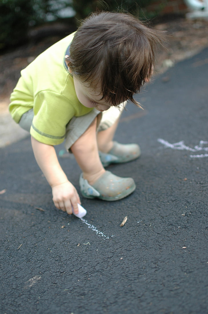 boy, drawing, toddler, chalk, child, outdoors, one Person