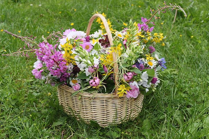 bouquet, flowers, basket, gift, summer, joy