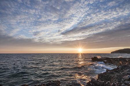 サンセット, 太陽, における, 空, 海, ミステリー, 水