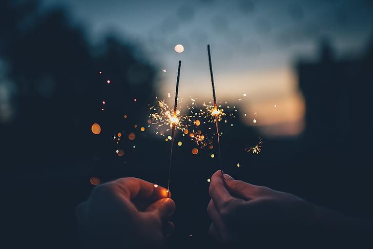 enfocament, fotografia, persona, celebració, Chispitas, espurna, llum