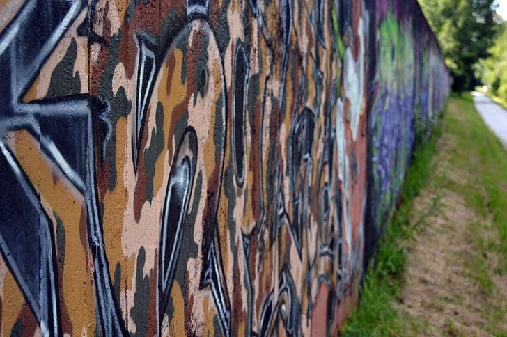 graffiti, Street art, fal, Art, graffiti fal, spray