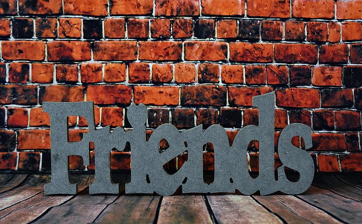 friends, sympathy, friendship, affection, brick wall, brick, no people