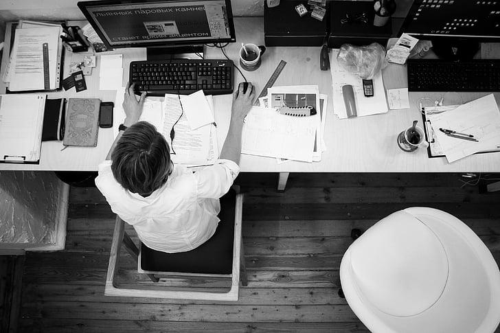 black-and-white, businessman, company, computer, desk, employee, entrepreneur