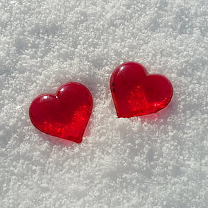valentine's day, heart, snow, love, background image, heart Shape, red