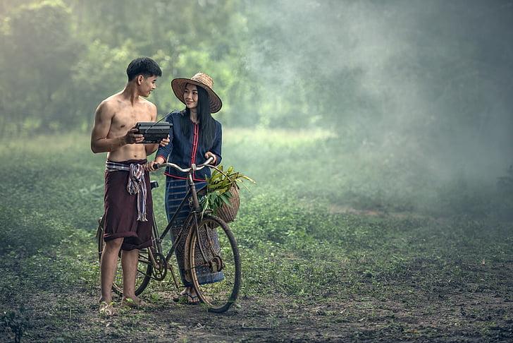 voksen, landbruk, sykkel, Asia, kurv, vakker, Kambodsja