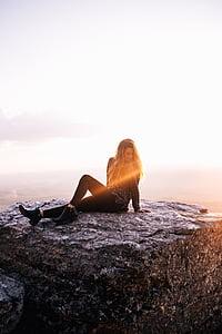 Природа, рок, Скеля, НД, сонячне світло, люди, жінка
