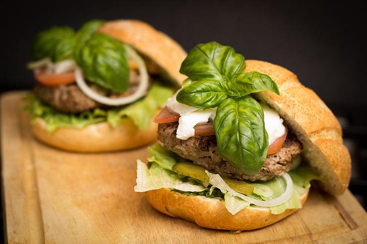 hamburguesa, aliments, àpat, saborosa, menjador, dinar, ciutadà