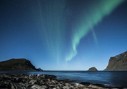 Aurora borealis, Lofoten, Norvégia, éjszaka, Beach, Costa, téli