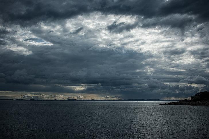 núvols, Parcialment ennuvolat, tempesta, forma núvols, núvols fosques, Croàcia, cel fosc