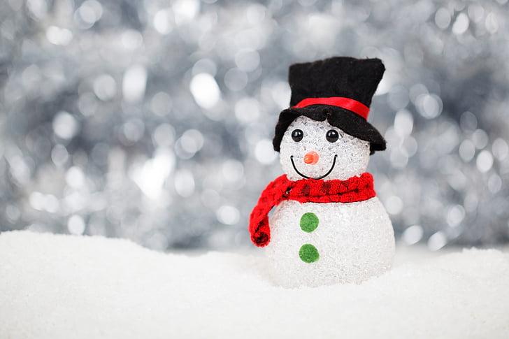 Коледа, сняг, снежен човек, декорация, празник, символ, зимни
