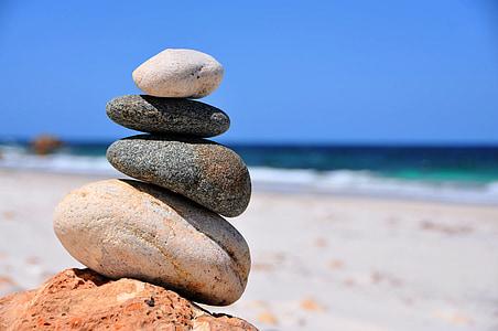Balance, pierres, mer, plage, Pebble, stabilité, Pierre - objet