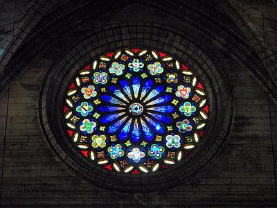 Rosetta, finestra della Chiesa, Colore, modello, finestra di vetro, credere, colorato