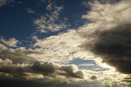 clouded sky, sky, cumulus clouds