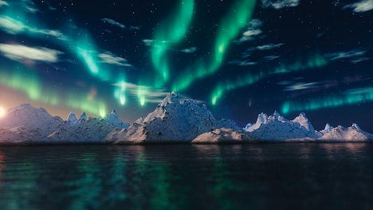nordlys, aurora borealis, blender, natur, fænomen, lys, soludbrud