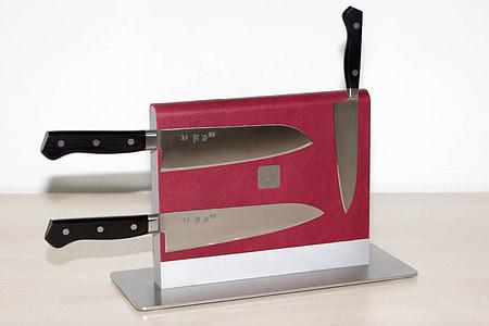 cuina, bloc de ganivet, emmagatzematge, pressupost, ganivet, alumini, cuir