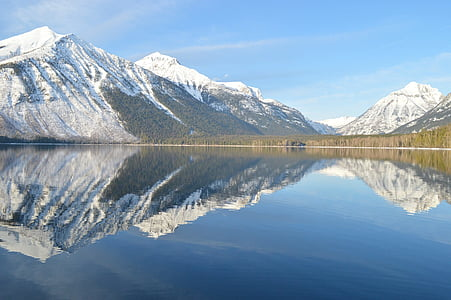 Lake mcdonald, landschap, reflectie, water, Bergen, Glacier Nationaalpark, Montana
