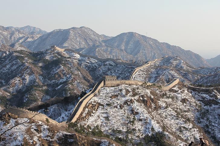 China, grande muralha, Inverno, montanha, dia, scenics, Cordilheira